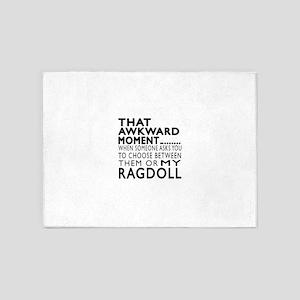 Awkward Ragdoll Cat Designs 5'x7'Area Rug