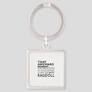 Awkward Ragdoll Cat Designs Square Keychain
