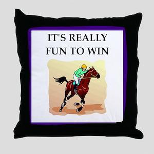 Horse racing joke Throw Pillow