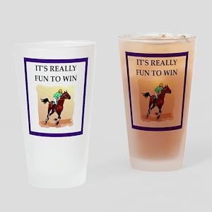 Horse racing joke Drinking Glass