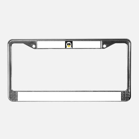 Ghost Penguin on Black License Plate Frame