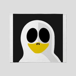 Ghost Penguin on Black Throw Blanket