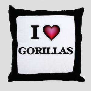 I love Gorillas Throw Pillow