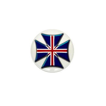 British Biker Cross Mini Button