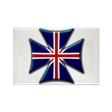 British Biker Cross Rectangle Magnet