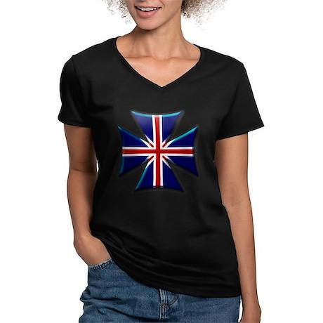 British Biker Cross Women's V-Neck Dark T-Shirt