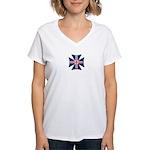 British Biker Cross Women's V-Neck T-Shirt