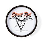 Street Rod v8 Flames and skull Wall Clock