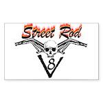 Street Rod v8 Flames and skull Sticker (Rectangula