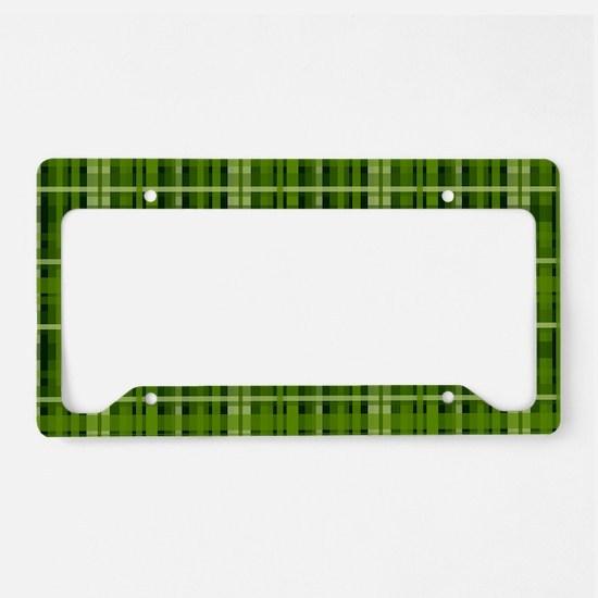 Modern Irish Green Plaid Pattern License Plate Hol