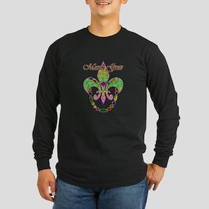 Beaded Mardi Gras Long Sleeve Dark T-Shirt
