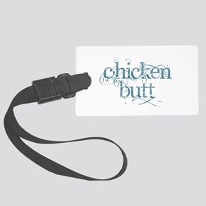 Chicken Butt - Blue Large Luggage Tag