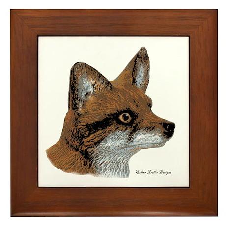 Fox Profile Design Framed Tile