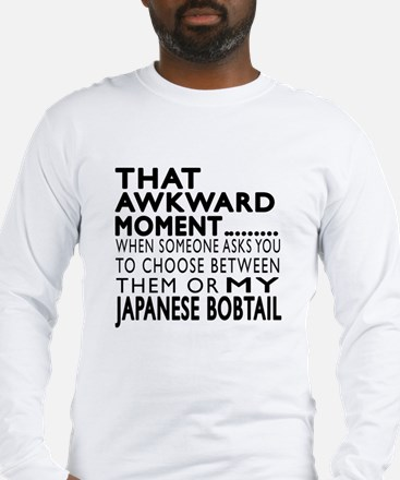 Awkward Japanese Bobtail Cat D Long Sleeve T-Shirt