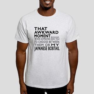 Awkward Japanese Bobtail Cat Designs Light T-Shirt