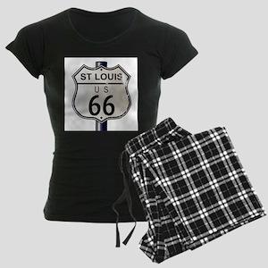 St Louis Route 66 Sign Women's Dark Pajamas