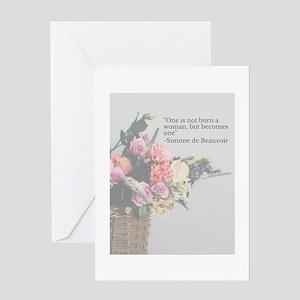 Simone de Beauvoir Quote Greeting Cards
