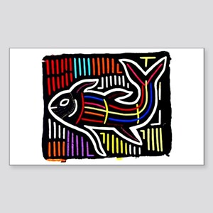 Mola Whale, Kuna art from San Sticker (Rectangular
