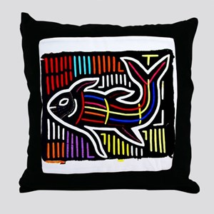 Mola Whale, Kuna art from San Throw Pillow