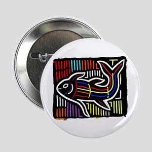 """Mola Whale, Kuna art from San 2.25"""" Button"""