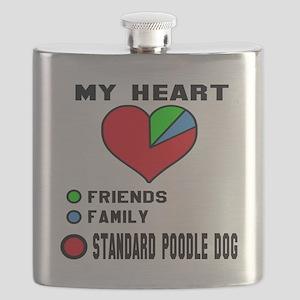 My Heart, Friends, Family, Standard Poodle D Flask