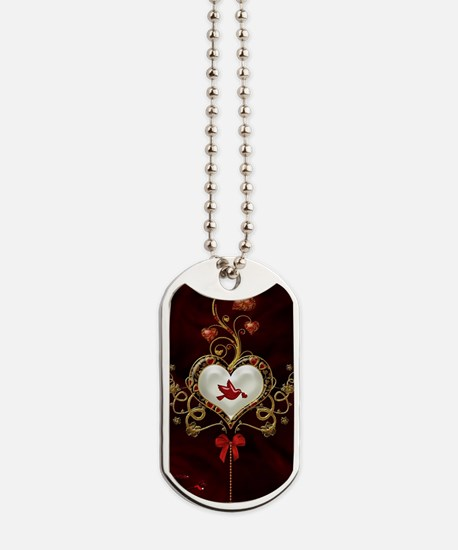 Wonderful hearts with dove Dog Tags