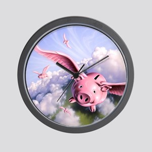 Pigs Away! Wall Clock