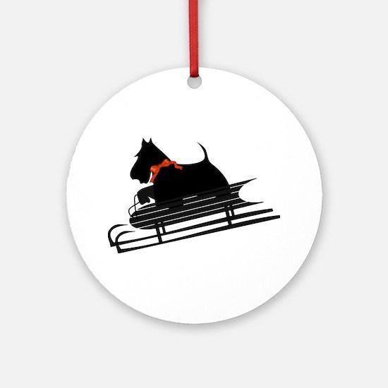 Scottish Terrier Sledding Ornament (Round)