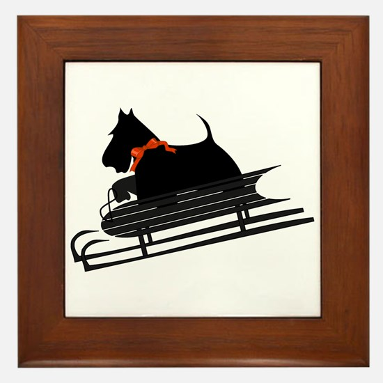 Scottish Terrier Sledding Framed Tile