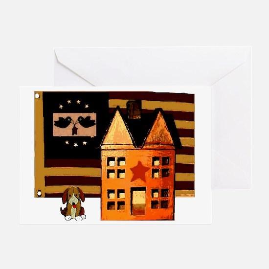 Promitive Art House , Flag ,a Greeting Card