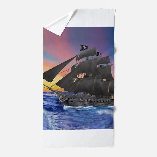Black Beard's Pirate Ship Beach Towel