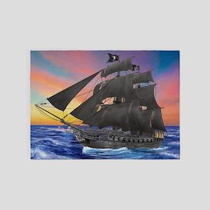 Black Beard's Pirate Ship 5'x7'Area Rug