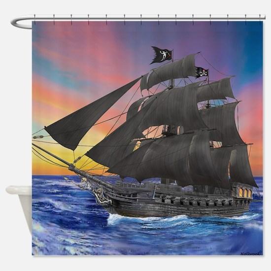 Black Beard's Pirate Ship Shower Curtain