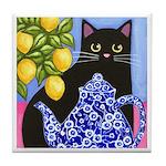 Black CAT Blue Calico Teapot & Lemons ART TILE