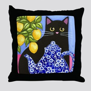 Black CAT Blue Calico Teapot & Lemons Throw Pillow