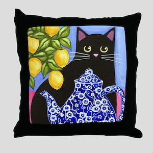 Black CAT Blue Calico Teapot & Lemons Throw Pillow