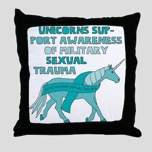 Unicorns Support Awareness Of Militar Throw Pillow