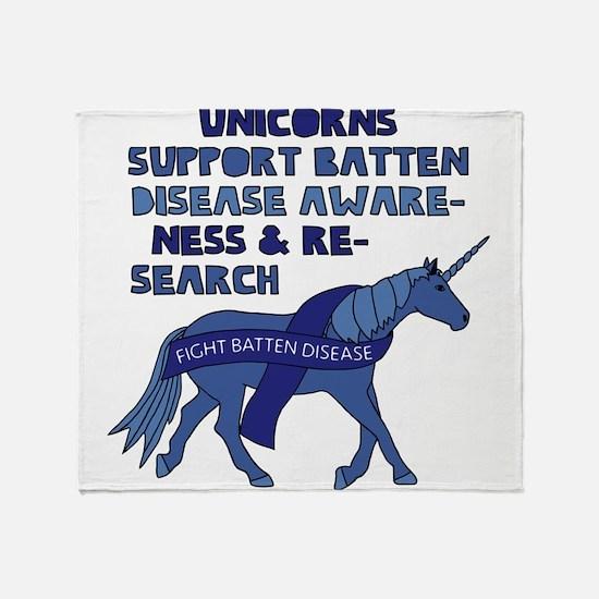 Unicorns Support Batten Disease Awar Throw Blanket