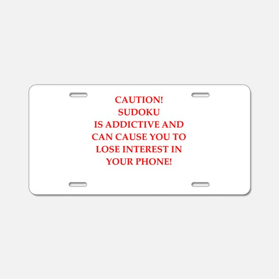 Sudoku joke Aluminum License Plate