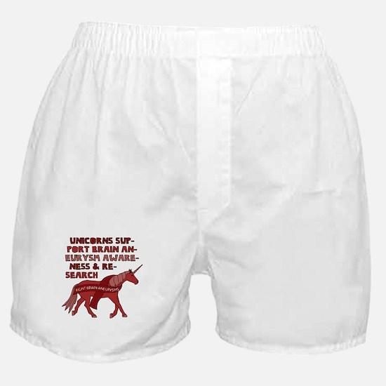 Unicorns Support Brain Aneurysm Aware Boxer Shorts