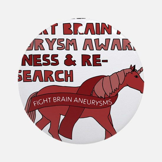 Unicorns Support Brain Aneurysm Awa Round Ornament