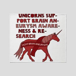 Unicorns Support Brain Aneurysm Awar Throw Blanket
