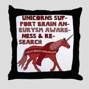 Unicorns Support Brain Aneurysm Aware Throw Pillow