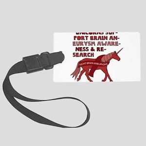 Unicorns Support Brain Aneurysm Large Luggage Tag