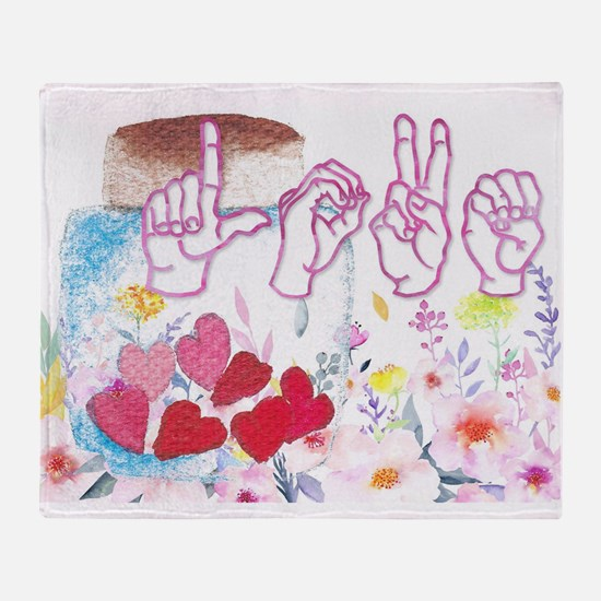 ASL Love Throw Blanket