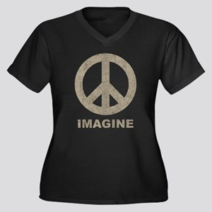 Vintage Imagine Peace Women's Plus Size V-Neck Dar