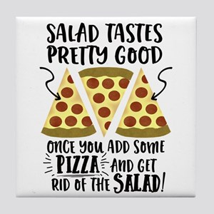 Pizza vs Salad Funny Tile Coaster