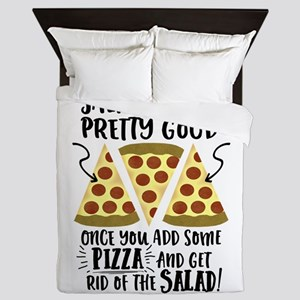 Pizza vs Salad Funny Queen Duvet