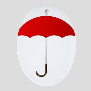 Red Umbrella Oval Ornament