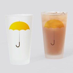 Yellow Umbrella Drinking Glass